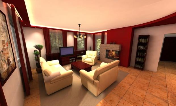 Családi ház nappalijának látványterve