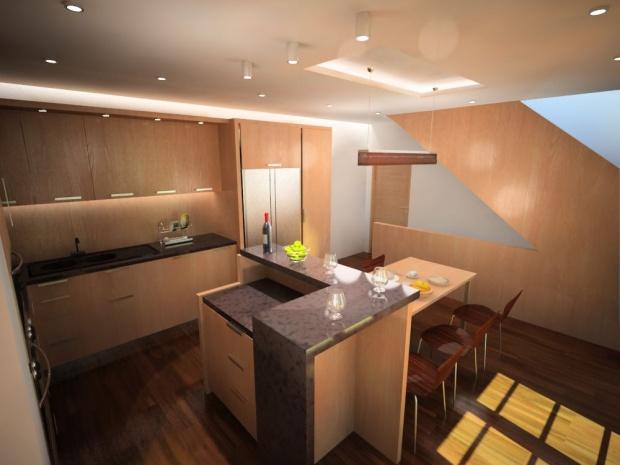 egyedi konyhabútor látványterve a konyha felől 2
