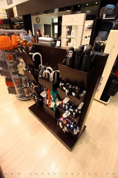 Reálszisztéma Menedzser Shop belsőépítészete, esernyőtartó állvány 2