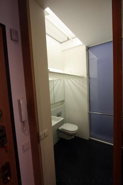 garzonlakás belsőépítészete, fürdőszoba