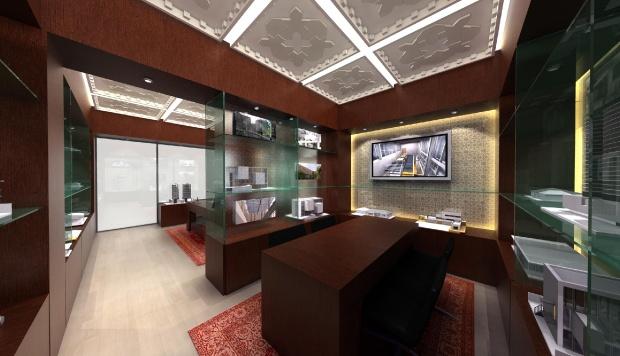 Ingatlaniroda belsőépítészeti tervének 3D grafikája - tárgyaló helység háttérben a bejárattal