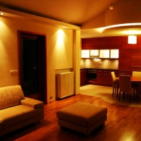 lakás belsőépítészete, nappali-étkező-konyha