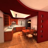 Konyha felújítási terve szögletes étkezőasztallal