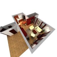 Családi ház belsőépítészetének felújításáról madártávlati nézet