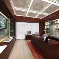 Ingatlaniroda-hálózat belsőépítészeti látványterve - bejárati ajtó, recepciós pult