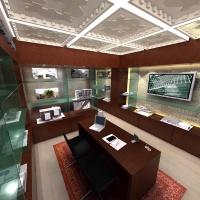 Dubai ingatlaniroda belsőépítészetének látványterve - recepciós pult, bemutató anyagok